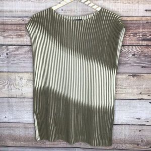 Lafayette 148 Sleeveless Knit Top M Ribbed Green